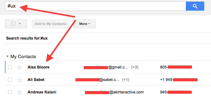 Google Contacts Hashtag Search Results