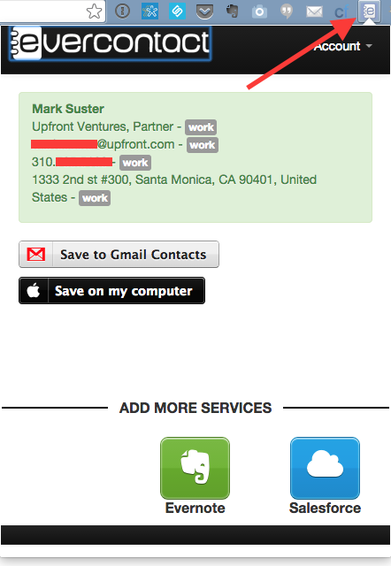 Evercontact Chrome Extension in Action