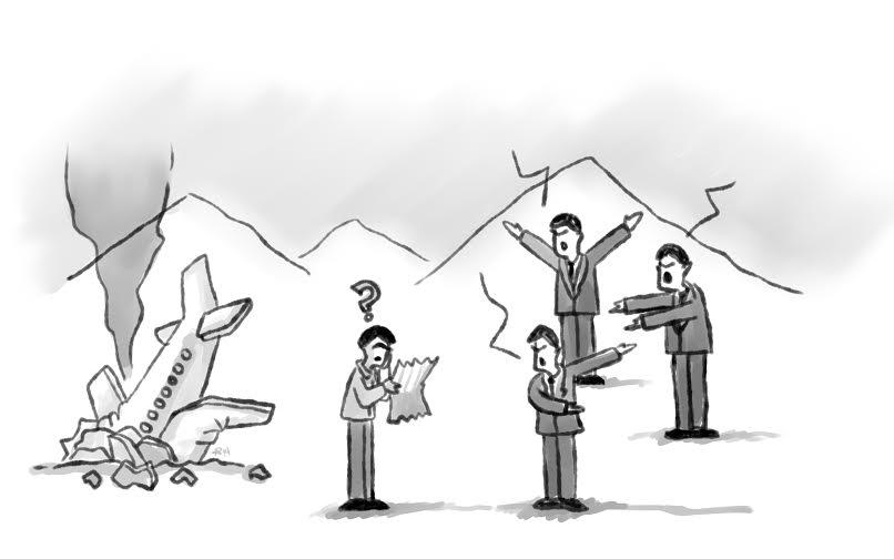 Illustration of a Startup Founder next to a Plane Crash