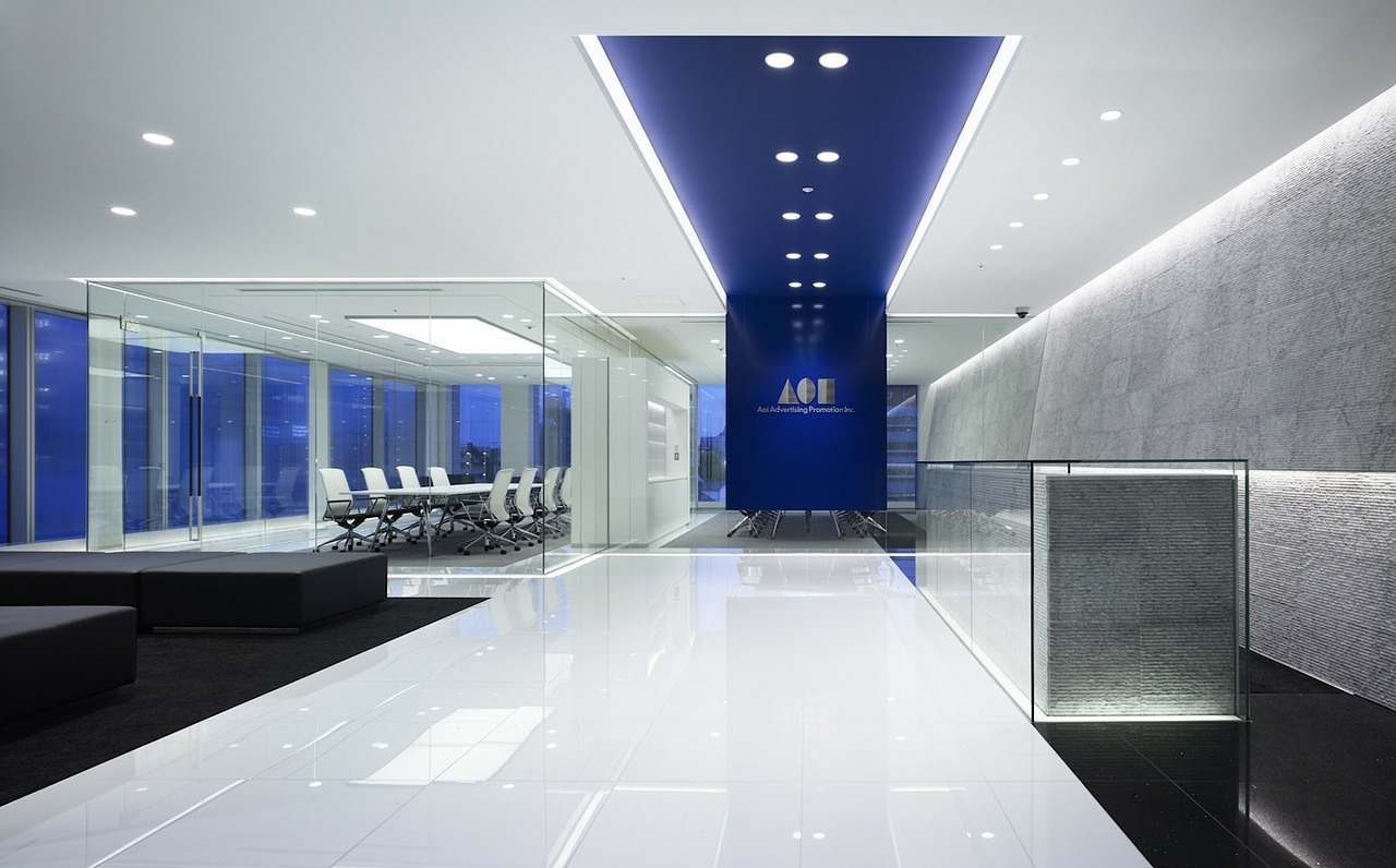 Office lobby with meeting room