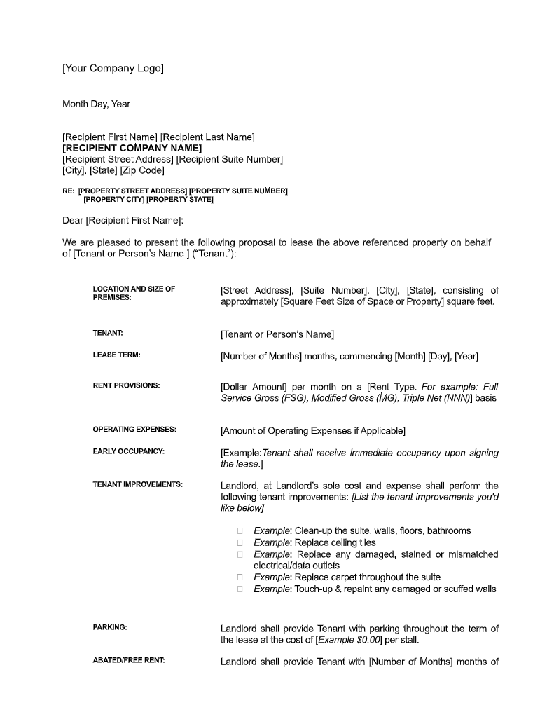 Sample Letter Of Intent For Commercial Lease Free Download Digsy