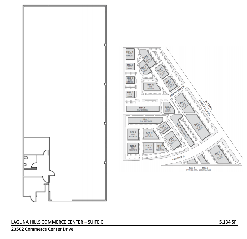 Auto Shop for Rent Laguna Hills - 23502 Commerce Center Drive, Suite C, Laguna Hills - Floor Plan