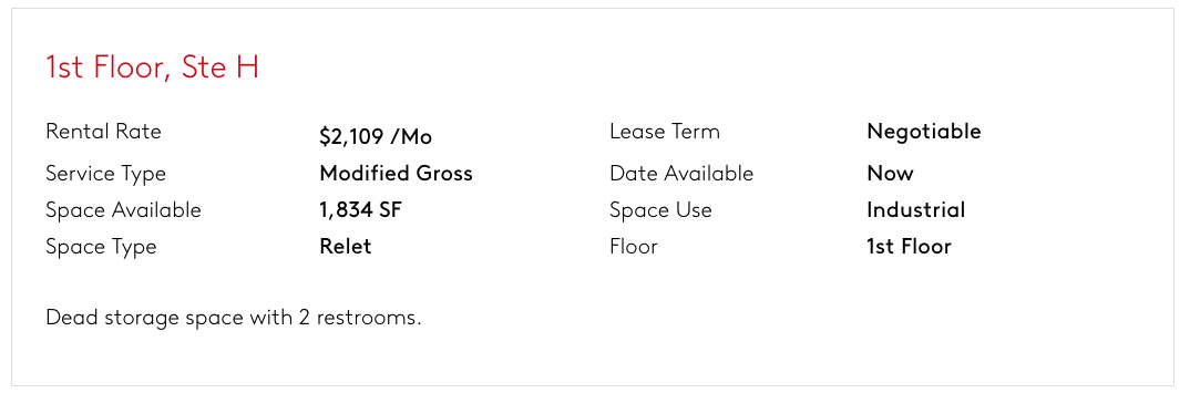 Modified Gross Lease Listing Example - MAIN