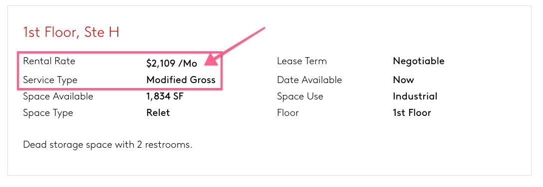 Modified Gross Lease Listing Example