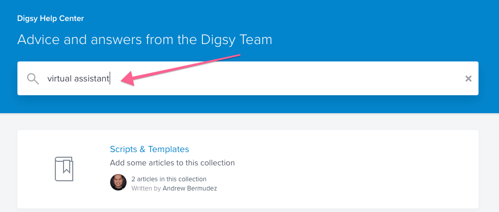 Digsy Virtual Assistant Help Article